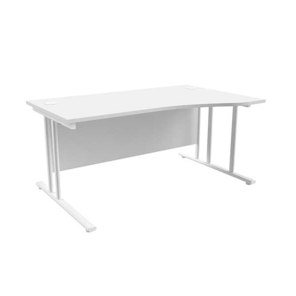 Jemini White/White 1600mm Right Hand Wave Cantilever Desk KF839740