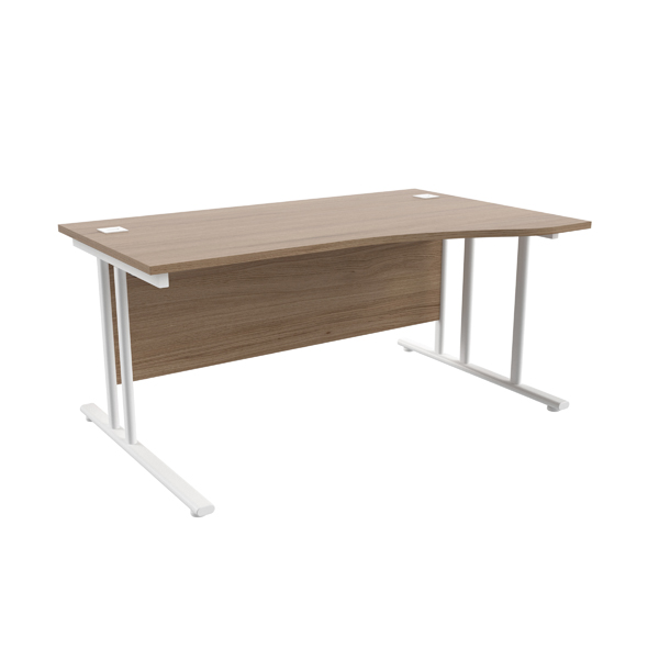 Jemini Grey Oak/White 1600mm Right Hand Wave Cantilever Desk KF839741