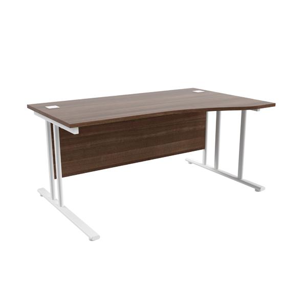 Jemini Walnut/White 1600mm Right Hand Wave Cantilever Desk KF839742