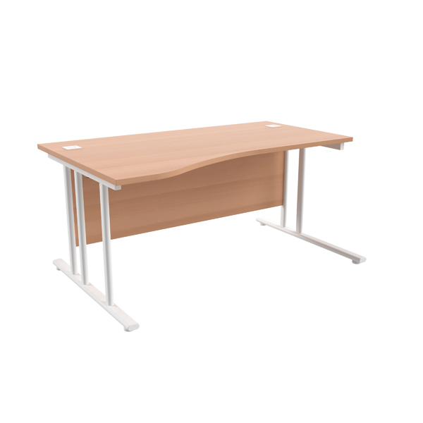 Jemini Beech/White 1600mm Left Hand Wave Cantilever Desk KF839743