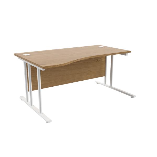 Jemini Oak/White 1600mm Left Hand Wave Cantilever Desk KF839744