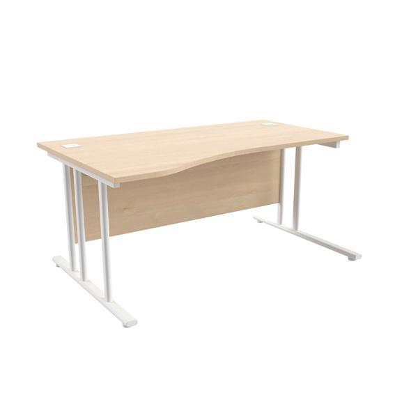 Jemini Maple/White 1600mm Left Hand Wave Cantilever Desk KF839745