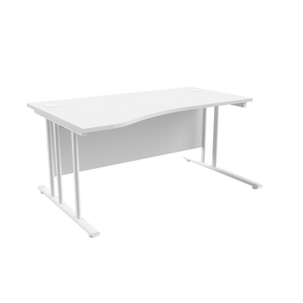 Jemini White/White 1600mm Left Hand Wave Cantilever Desk KF839746