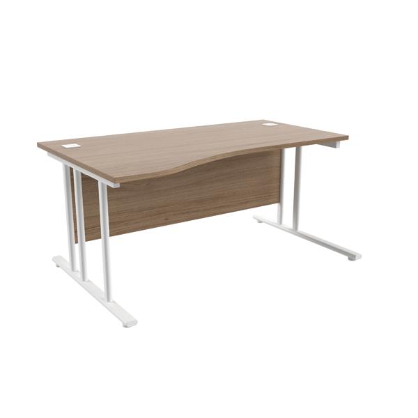 Jemini Grey Oak/White 1600mm Left Hand Wave Cantilever Desk KF839747