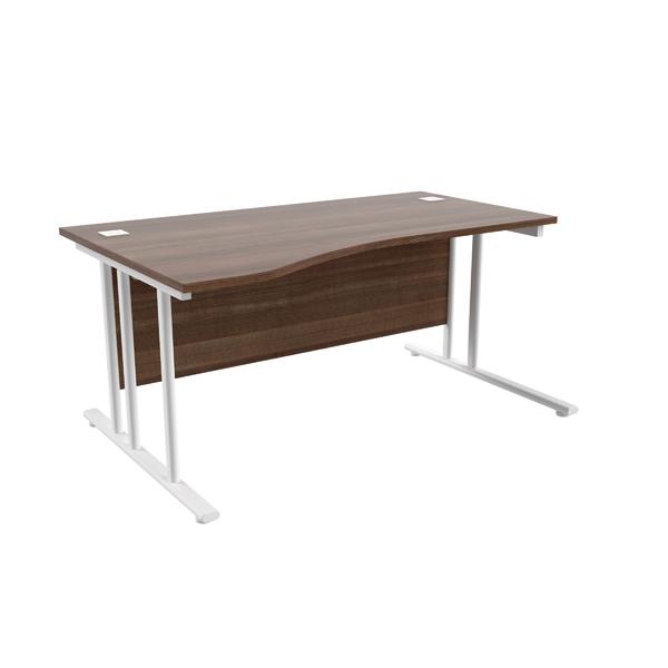 Jemini Walnut/White 1600mm Left Hand Wave Cantilever Desk KF839748