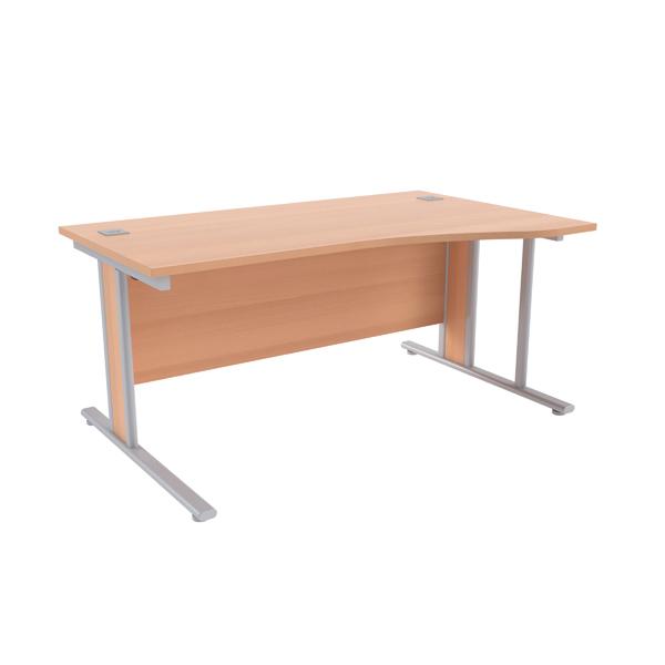 Jemini Beech/Silver 1600mm Right Hand Wave Desk KF839833