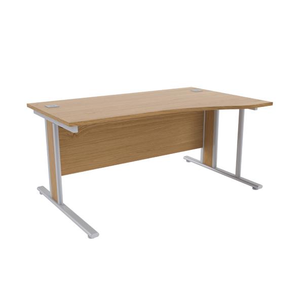 Jemini Oak/Silver 1600mm Right Hand Wave Desk KF839834