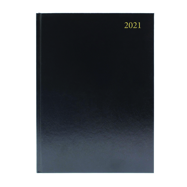 Desk Diary Day Per Page Appointments A4 Black 2021 KFA41ABK21