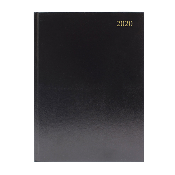 Desk Diary A4 Day Per Page 2020 Black (Reference calendar on each page) KFA41BK20