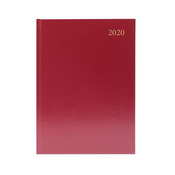 Desk Diary A5 2 Days Per Page 2020 Burgundy KFA52BG20