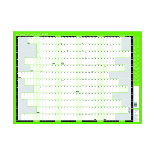 Q-Connect Oversized Year Planner 1000 x 610mm 2021 KFLYPU21