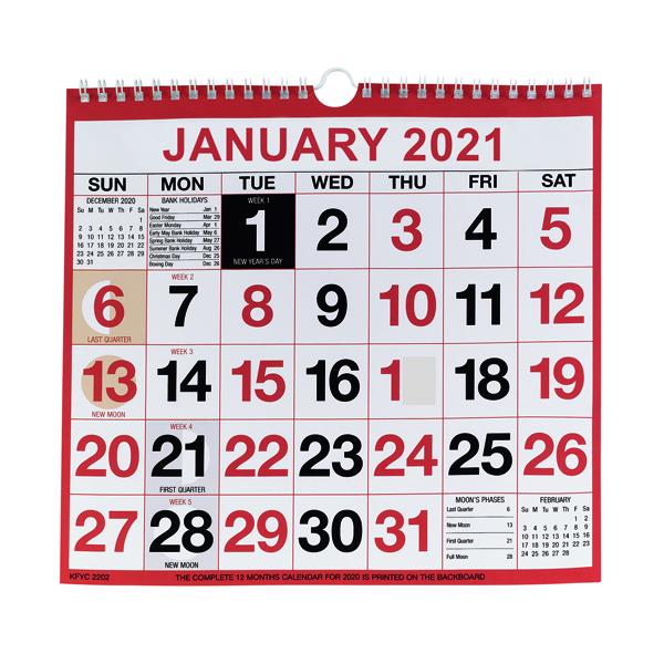 Wirebound Monthly Calendar 249 x 231mm 2021 KFYC2221