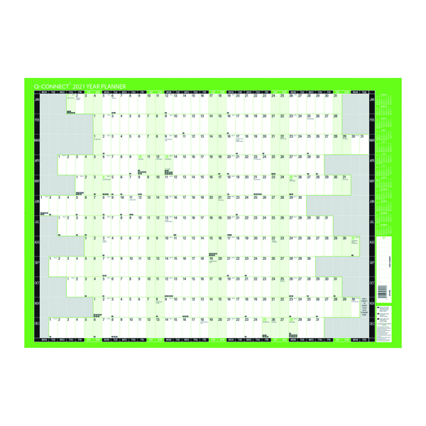 Q-Connect Year Planner Unmounted 855 x 610mm 2021 KFYPU21