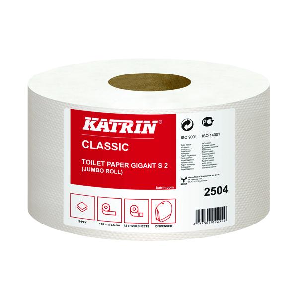 Katrin Mini Jumbo Toilet Roll 2-Ply 61mm Core Refill (Pack of 12) 2504