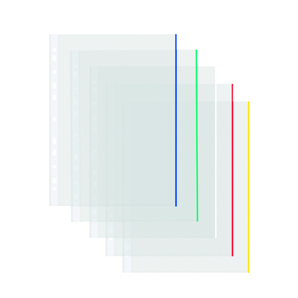 Coloured Edge Punched Pockets A4 (Pack of 100) 9410410