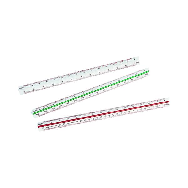 Linex Triangular Scale Rule 1:1 1:20-125 30cm White 311 LXH