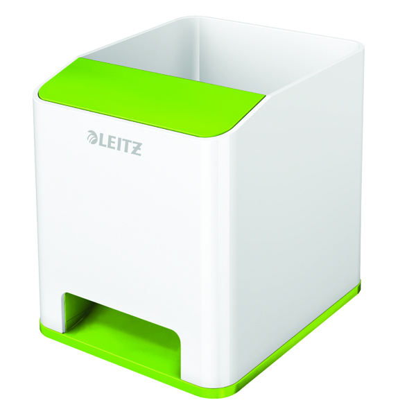 Leitz WOW Sound Pen Holder Dual Colour White/Green 53631054