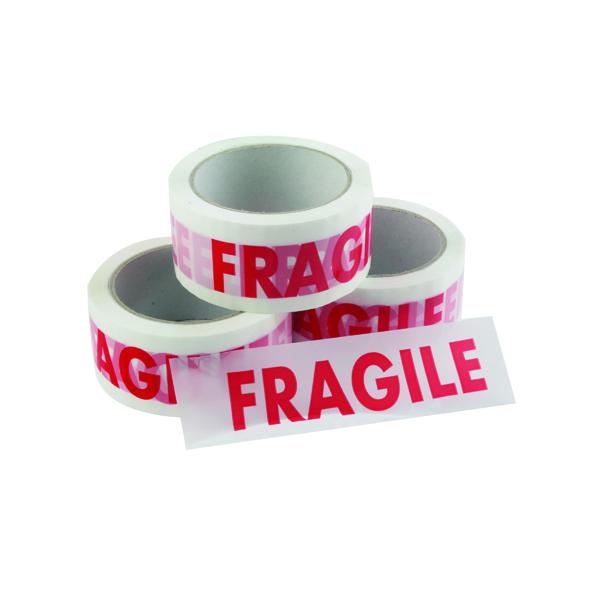 Vinyl Tape Printed Fragile 50mmx66m White Red (Pack of 6) PPVC-FRAGILE