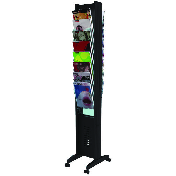 Fast Paper 16 Compartment Mobile Literature Display Black F276N01