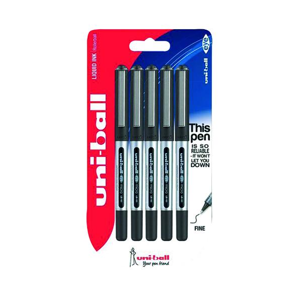 Uni-Ball UB-150 Eye Rollerball Pen Fine Black (Pack of 5) 153544322