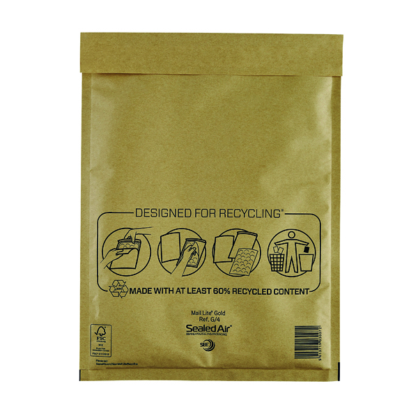 Mail Lite Bubble Lined Postal Bag Size G/4 240x330mm Gold (Pack of 50) MLGG/4