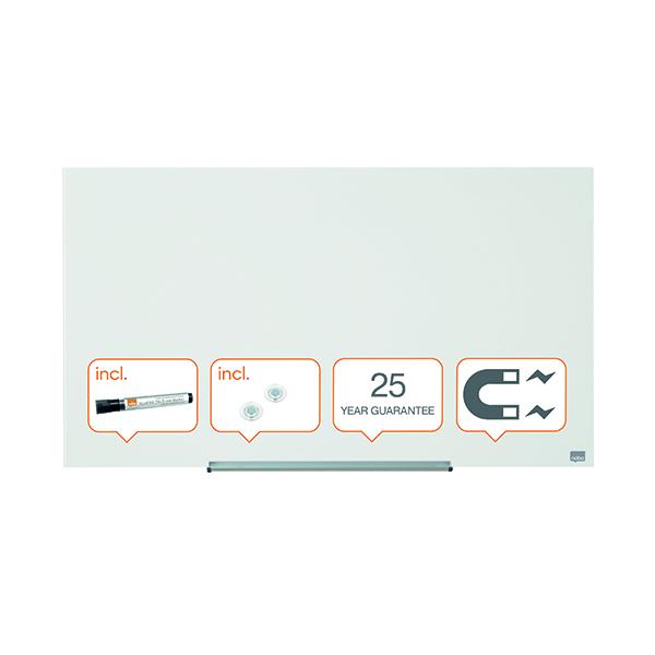 Nobo Diamond Magnetic Glass Board White 993x559mm 1905176