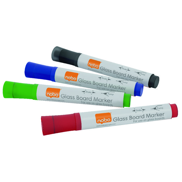 Nobo Glass Whiteboard Markers Assorted (Pack of 4) 1905323