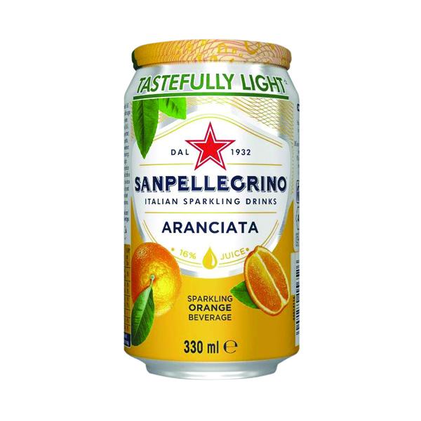 San Pellegrino Aranciata Orange 330ml Cans (Pack of 24) 12166832