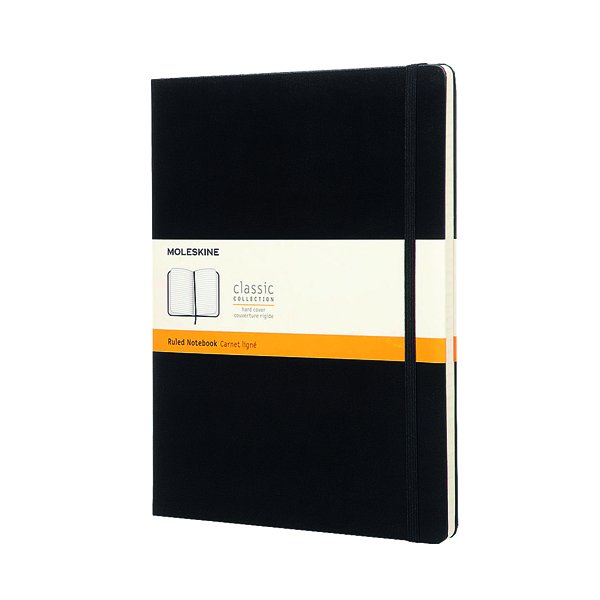 Moleskine Ruled Hardcover Notebook Extra Large Black QP090