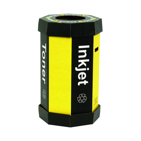 Acorn Cartridge Recycling Bin 60 Litre Black/Yellow (Pack of 5) 059783