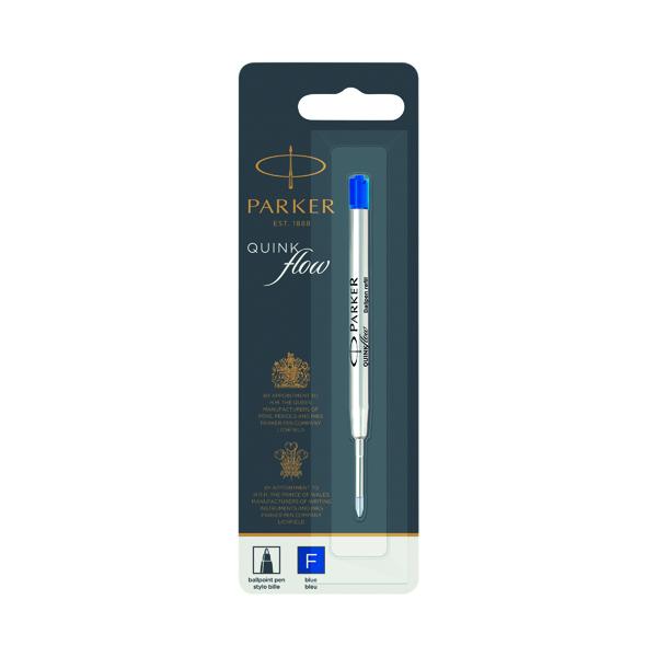 Parker Quink Ballpoint Pen Refill Fine Blue Blister (Pack of 12) 1950368