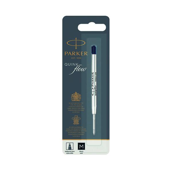 Parker Quink Ballpoint Pen Refill Medium Black Blister (Pack of 12) S0909550
