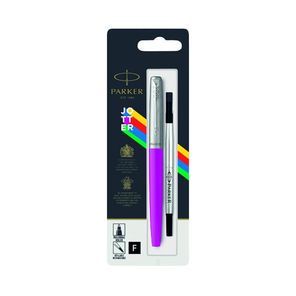 Parker Jotter Rollerball Pen Fine Tip Magenta Barrel Black Ink 2096891
