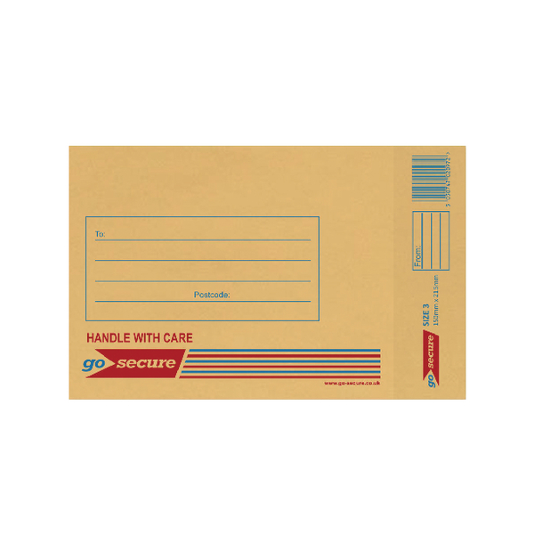GoSecure Bubble Lined Envelope Size 3 150x215mm Gold (Pack of 20) PB02151