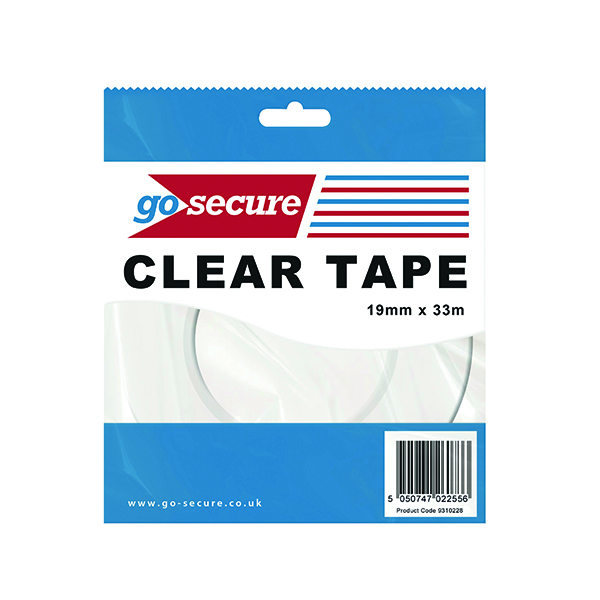 GoSecure Small Tape 19mmx33m Clear (Pack of 12) PB02298