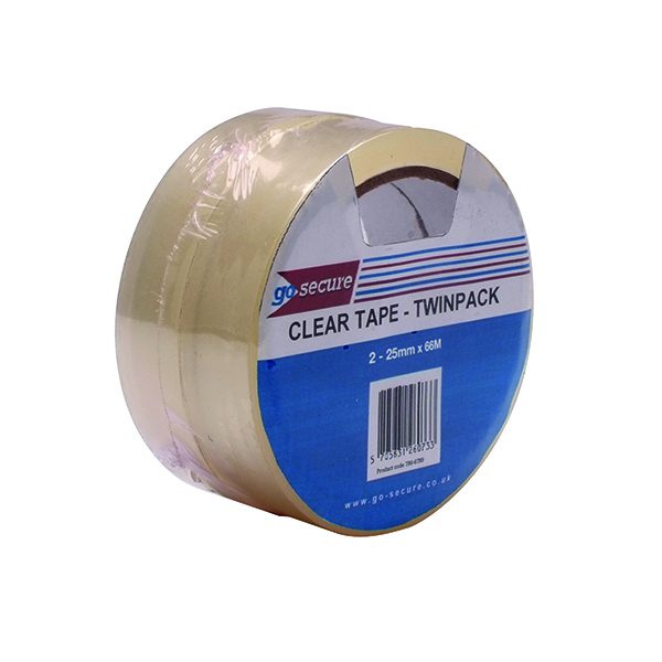 GoSecure Twin Pack Tape 25mmx66m Clear (Pack of 6) PB02305