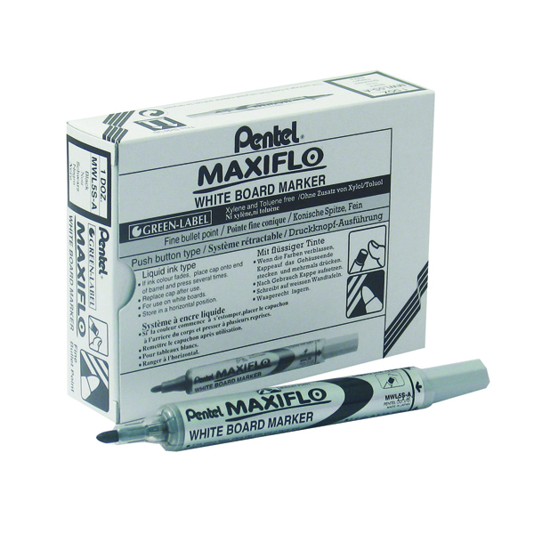 Pentel Maxiflo Whiteboard Marker Fine Black (Pack of 12) MWL5S-A
