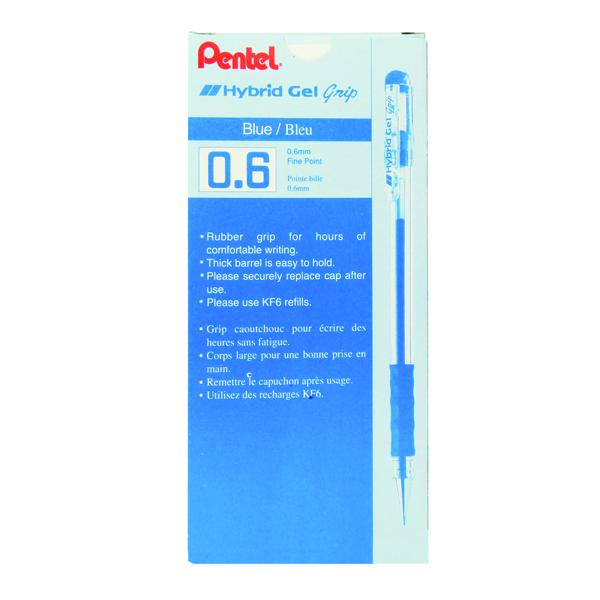 Pentel Hybrid Gel Ink Rollerball Fine Blue (Pack of 12) K116E-C