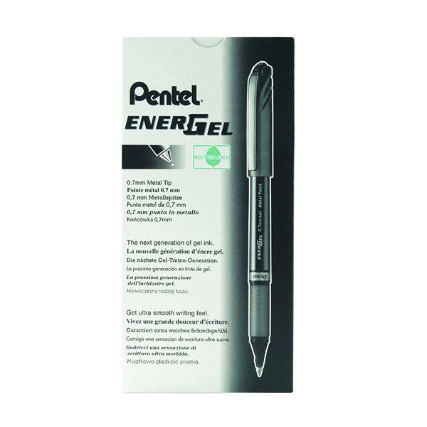 Pentel EnerGel Plus Metal Tip Rollerball Pen 0.7mm Black (Pack of 12) BL27-A