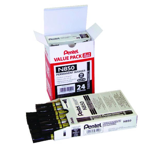 Pentel N850 Permanent Marker Bullet Tip Black (Pack of 24) N850/24-A