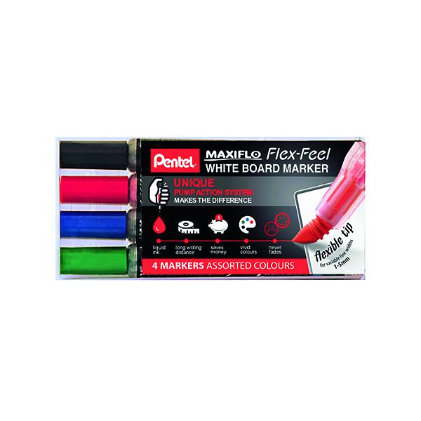 Pentel Maxiflo Whiteboard Marker (Pack of 4) YMWL5SBF/4-M
