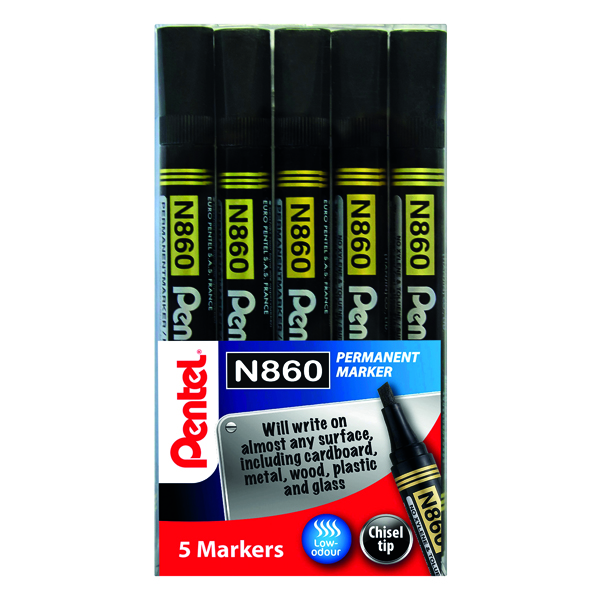 Pentel Chisel Tip Permanent Marker Black (Pack of 5) YN860/5-A