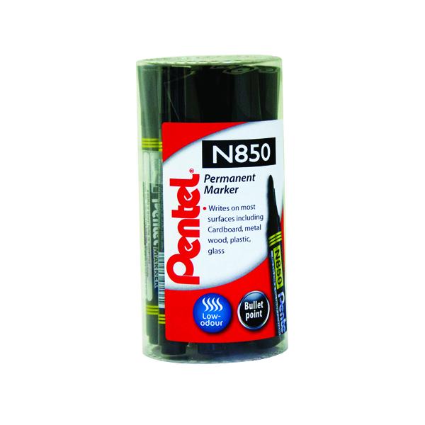 Pentel N850 Permanent Black Bullet Tip Marker (Pack of 12) N850T12-A