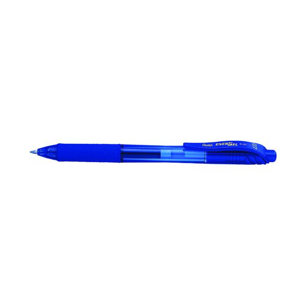 Pentel EnerGel X Gel Grip Retractable Rollerball Pen Blue (Pack of 12) BOGOF PE811444