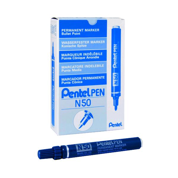 Pentel N50 Permanent Bullet Marker Broad Blue (Pack of 12) N50-C