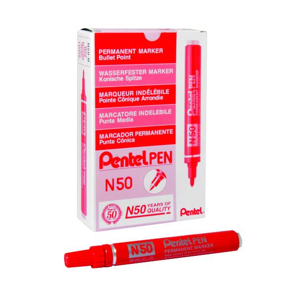 Pentel N50 Permanent Bullet Marker Broad Red (Pack of 12) N50-B
