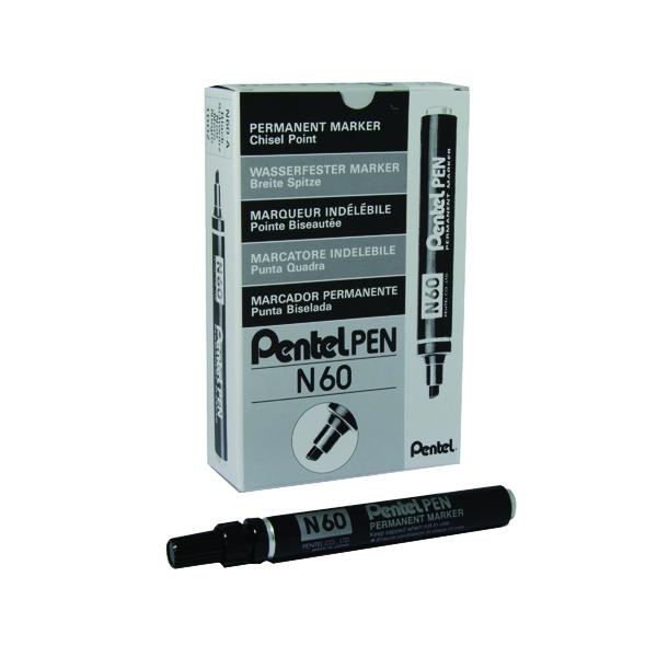 Pentel N60 Permanent Marker Chisel Tip Black (Pack of 12) N60-A