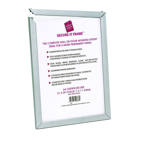 Photo Album Company Silver Secure It Aluminium A2 Frame PASFA2B