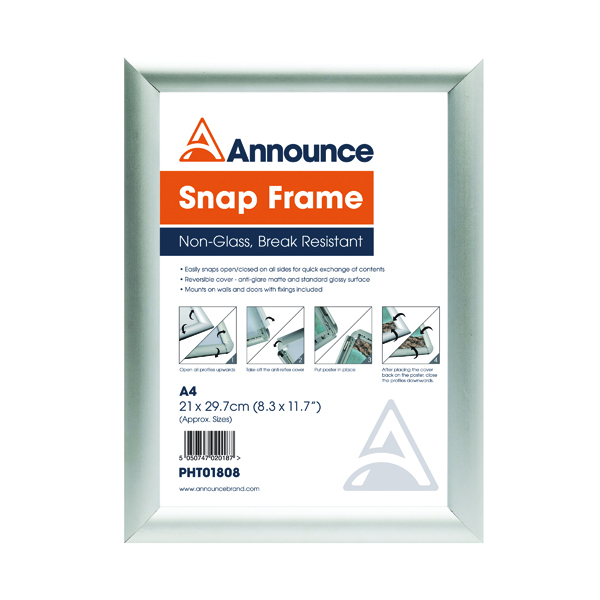 Announce A4 Snap Frame (25mm anodised aluminium frame, Wall fixings included) PHT01808