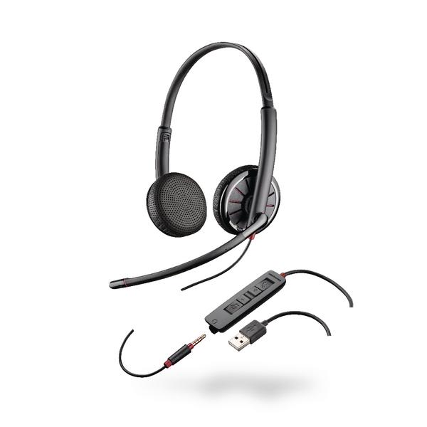 Plantronics Black Wire C325-Binaural USB and 3.5mm 204446-01